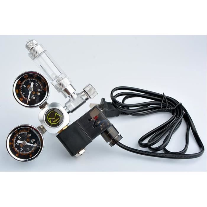 Aquarium,Système d'aquarium double jauge CO2 régulateur de pression bulle compteur électrovanne - Type Large double Watch-W21.8