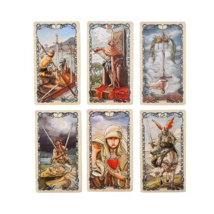 Jeux de plateau,78 pièces anglais Tarot Mucha cartes Deck destin Divination Oracle carte drôle famille jeu de société jeu de fête