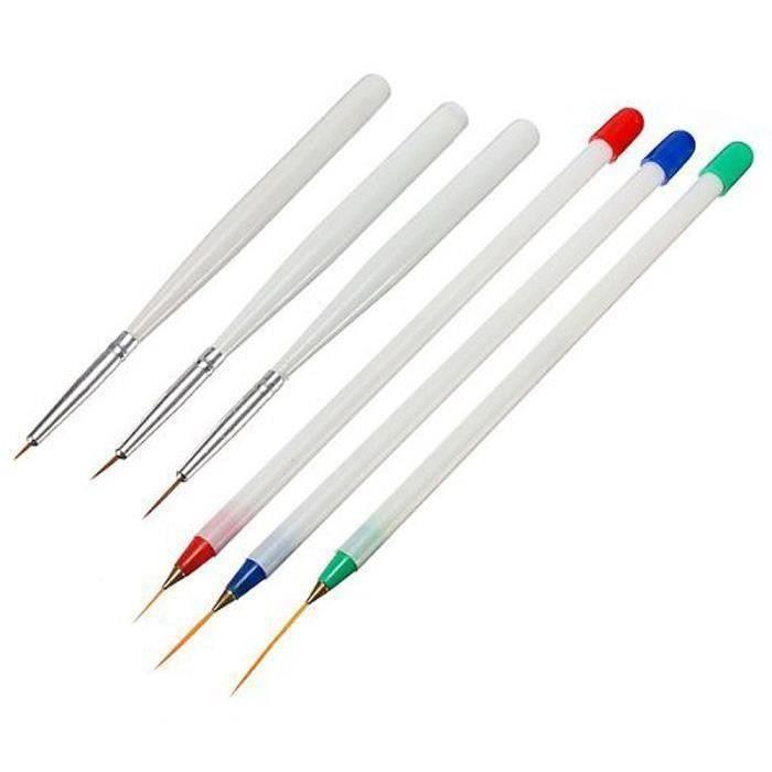 Vococal 6Pcs Acrylique Nail Art Pen Brush-3 Beaux Dessin-3 Liner Design Set A56265