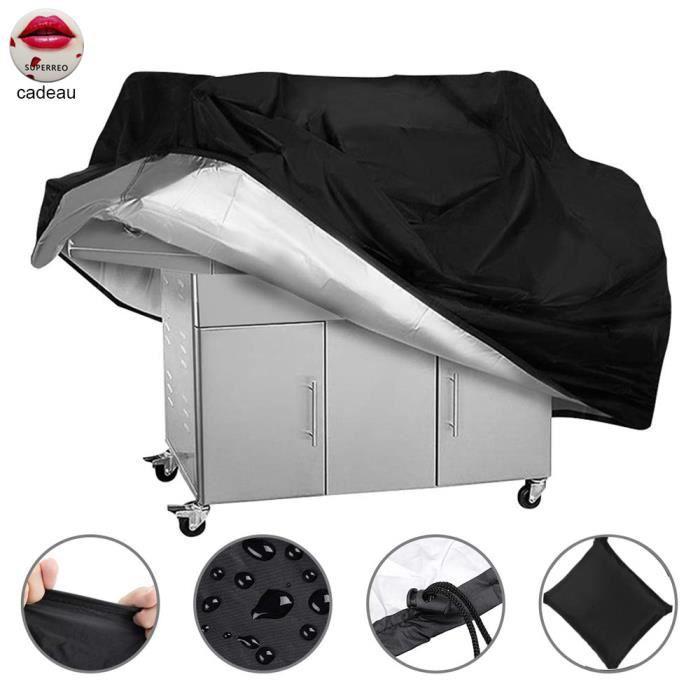 Housse Barbecue Bâche Revêtement de Protection BBQ Couverture de Gril à Gaz, Imperméable/Anti-UV en Polyester Noir 80 x 66  x 100 cm