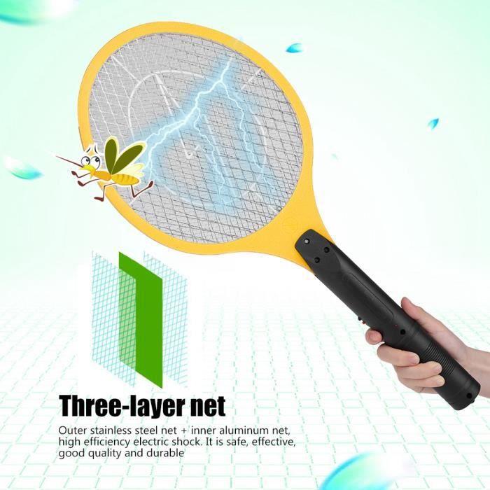 Tapette de moustique électrique rechargeable sans fil Bug Zapper Raquette Insectes Killer Jaune-KOA