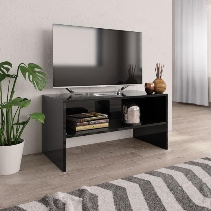 Vogue Meuble TV 80 x 40 x 40 cm Aggloméré Noir brillant QI045