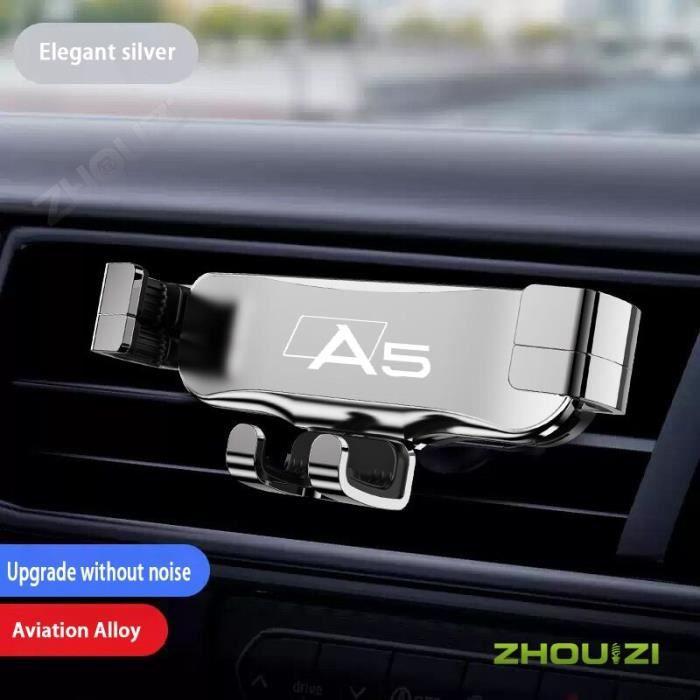 Accessoires Voiture,Support de téléphone portable de voiture, Clip de sortie d'air, support GPS pour Audi A5 - Type Silver
