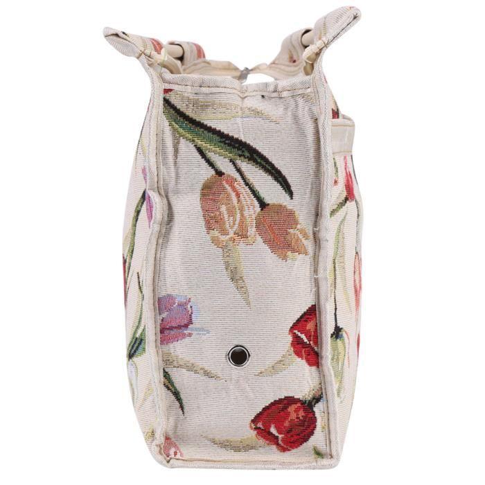 HURRISE Sac de tricot Sac de rangement en tissu avec poignée en bois exquis pour outils de couture d'aiguilles à tricoter