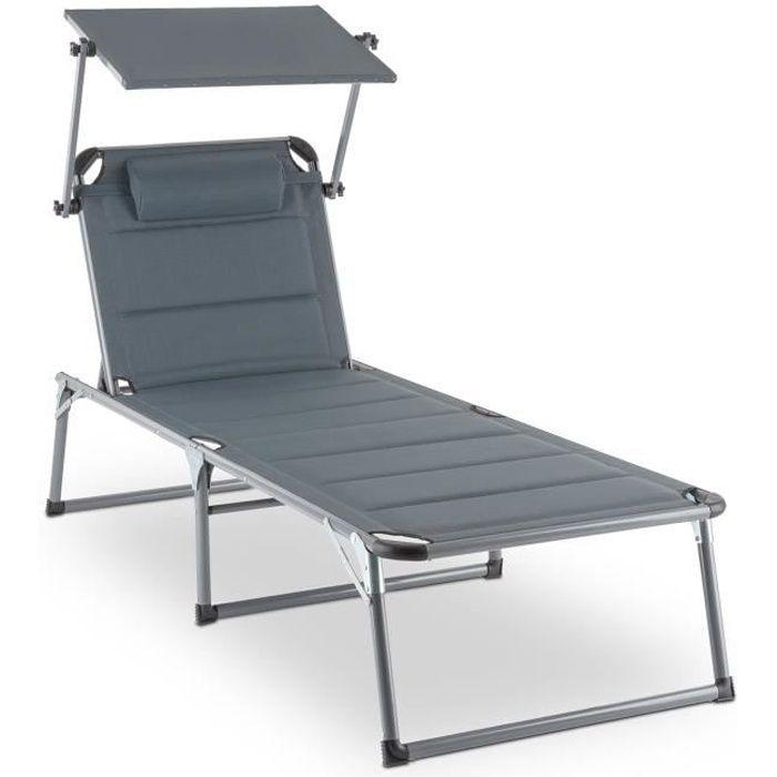 Blumfeldt Amalfi Noble Gray Bain de soleil Transat 70x37x200 cm avec pare-soleil - rembourrage confortable - tubes acier résistants