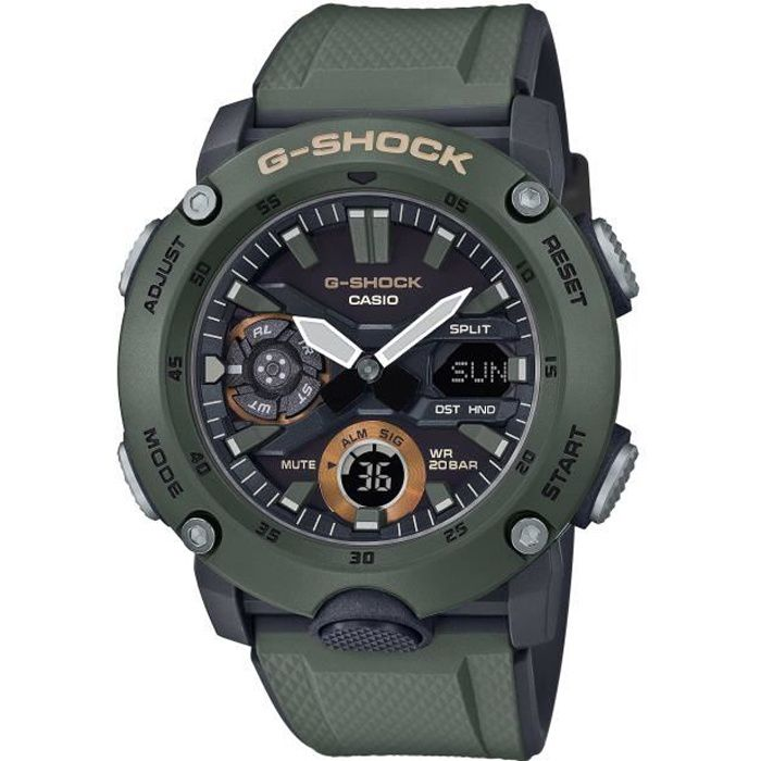 CASIO G-Shock Montre GA-2000-3AER résistance aux chocs, chrono, compte à rebours, calendrier auto