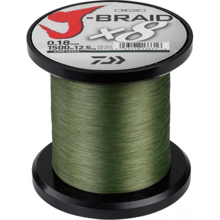TRESSE DAIWA J BRAID X 8 VERT- 1500M (Vert - 1500 - 56/100 - 65)