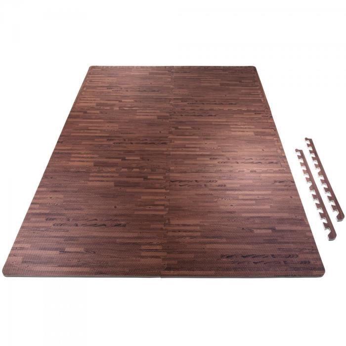 6 tapis de protection en mousse - épaisseur 1,2cm - 12 pièces d'about - Bois foncé