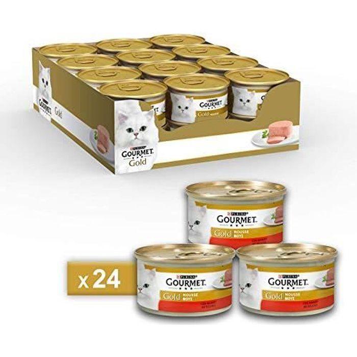 Gourmet Purina Gold Nourriture Humide, Mousse pour Chat, au bœuf – 24 boîtes de 85 g chacune (Pack de 24 x 85 g) 800055005539