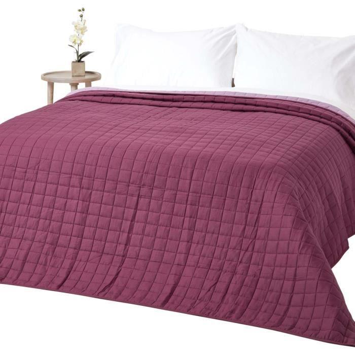 Couvre-lit bicolore en pur coton 400 g-m² coloris lavande & violet 230 x 250 cm