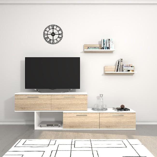 HOMEMANIA Meuble TV Antipodi - avec portes, étagères, placards - Salle de séjour - Blanc, 200 x 30 x 60 cm
