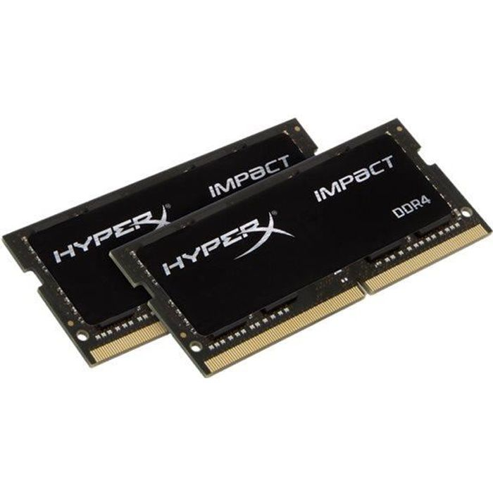 Kingston Module de Ram Hyperx Impact 32 Go (2 x 16 Go) Ddr4 2666/Pc4 21300 Ddr4 Sdram Cl15 1,20 V Non Ecc Non bufférisé
