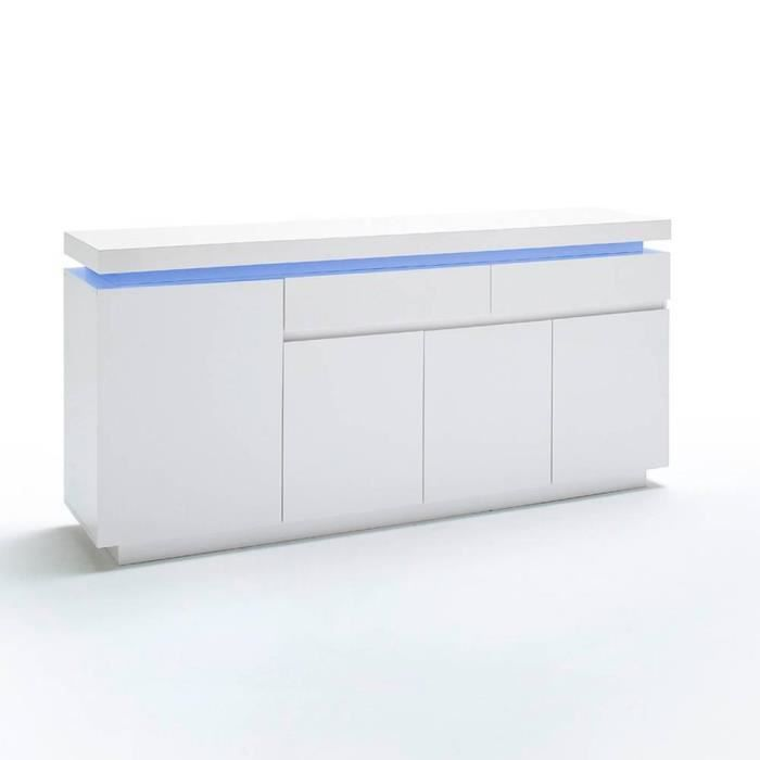 Buffet OCEAN laqué blanc brillant 4 portes 2 tiroirs LED inclus blanc Inside75