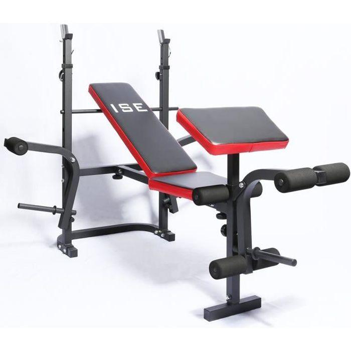 ISE Banc de Musculation Multifonction Mixte ,Réglable Pliable Inclinable Fitness pour Entrainement Complet