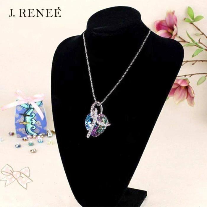 J. RENEÉ Coeur d'amour Collier Femme, Cristal Swarovski Elements, Bijoux Femme,