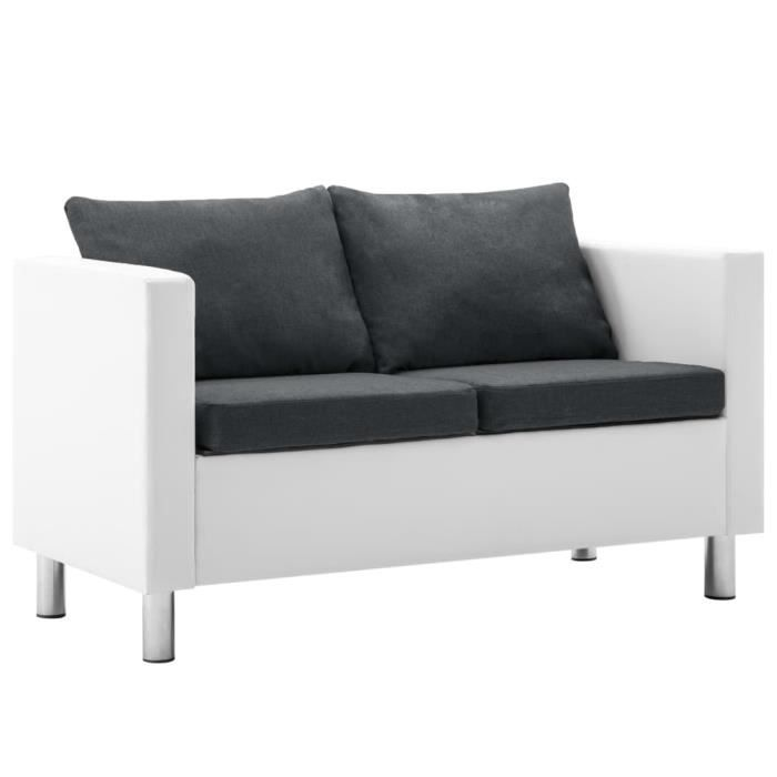 Luxueux Magnifique Canapé à 2 places Faux cuir Blanc et gris foncé