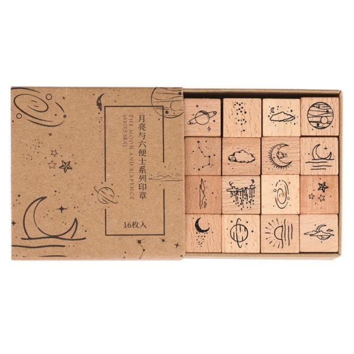 16 Pièces Manuel Timbre Joint en Bois Stamper Cartes Faire Album Articulaire tampon encreur de decoration petites fournitures
