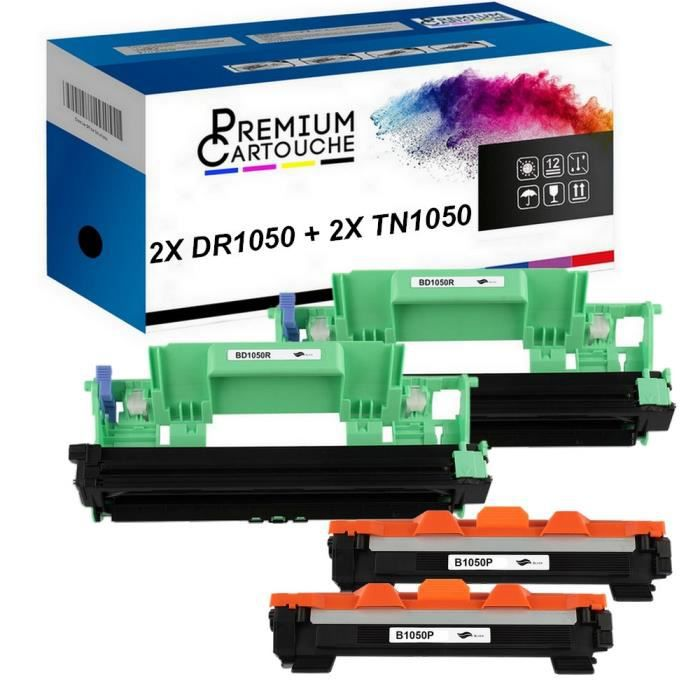 Toner DR+TN1050 Tambour (x2) + Toner (x2) Compatible pour Brother HL-1110-1110E-1110R-1112-1112E-1112R-1210W-1212W, MFC-1810-1810E-1
