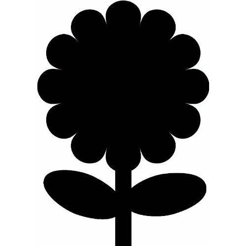Silhouette fleur ardoise - Feutre-craie inclus et kit velcro pour accrochage mural - 30x50cm
