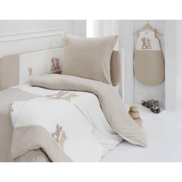 Housse de Couette POMPON LE LAPIN 140x200cm avec taie d'oreiller - Sensei La Maison du Coton - Ecru - Taille : 140x200