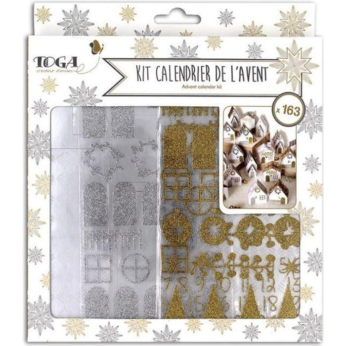 Kit Calendrier de l'Avent en papier - or et argent