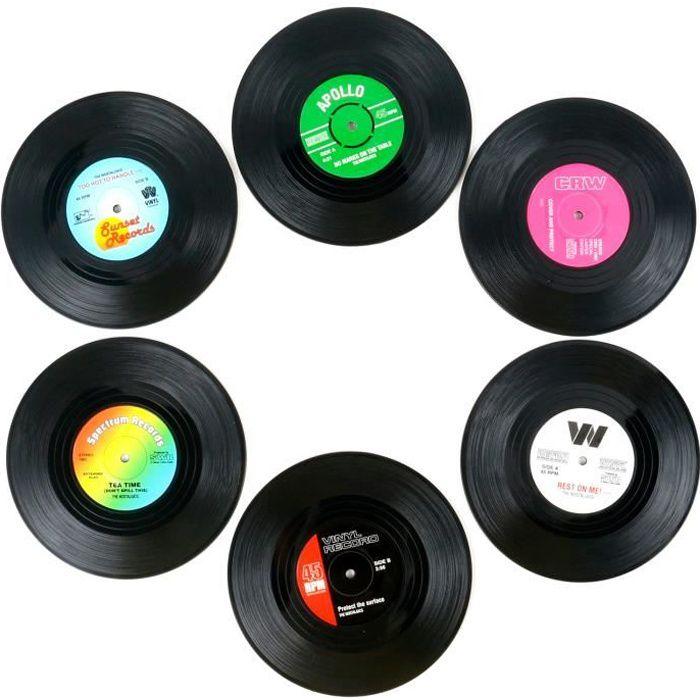 TRIXES Lot de 6 Différents Dessous de Tasses Rétro Vinyle
