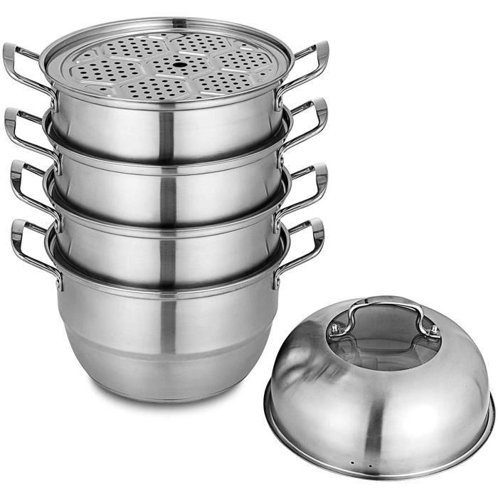 Cuiseur vapeur en acier inoxydable, s/'adapte à Pan Tailles Ø18-28cm