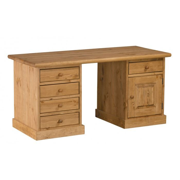 bureau rustique en pin 1 porte 5 tiroirs achat vente. Black Bedroom Furniture Sets. Home Design Ideas