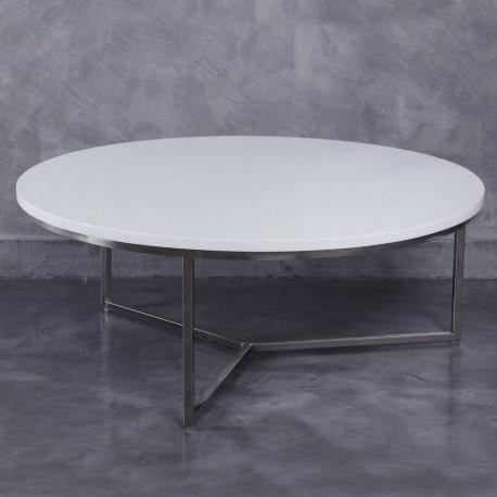 Table basse ronde moderne en m tal et plateau bois laqu e for Table basse ronde blanc