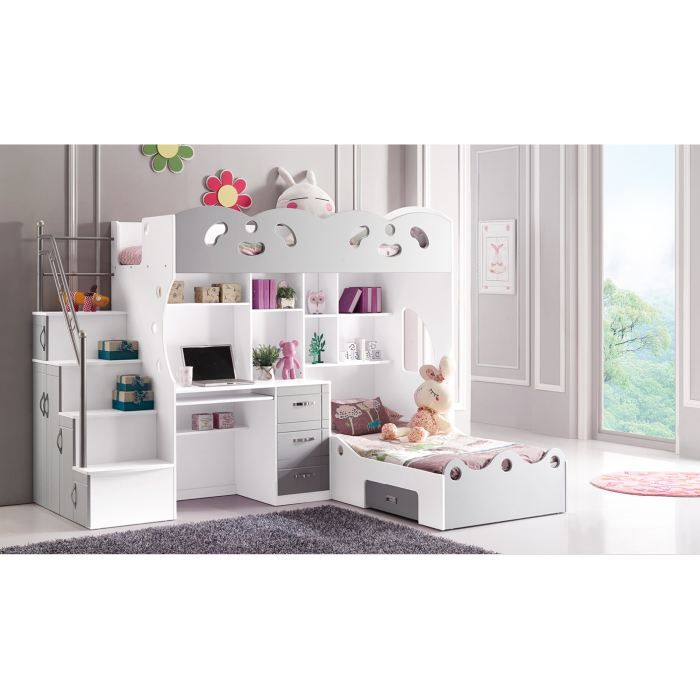lit double pour enfant multifonction gris et bl achat. Black Bedroom Furniture Sets. Home Design Ideas