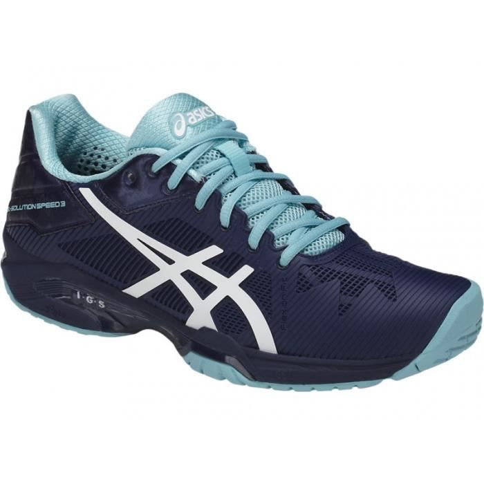Chaussures ASICS Femme Gel Solution Speed 3 Indigo Blanc Bleu PE 2018