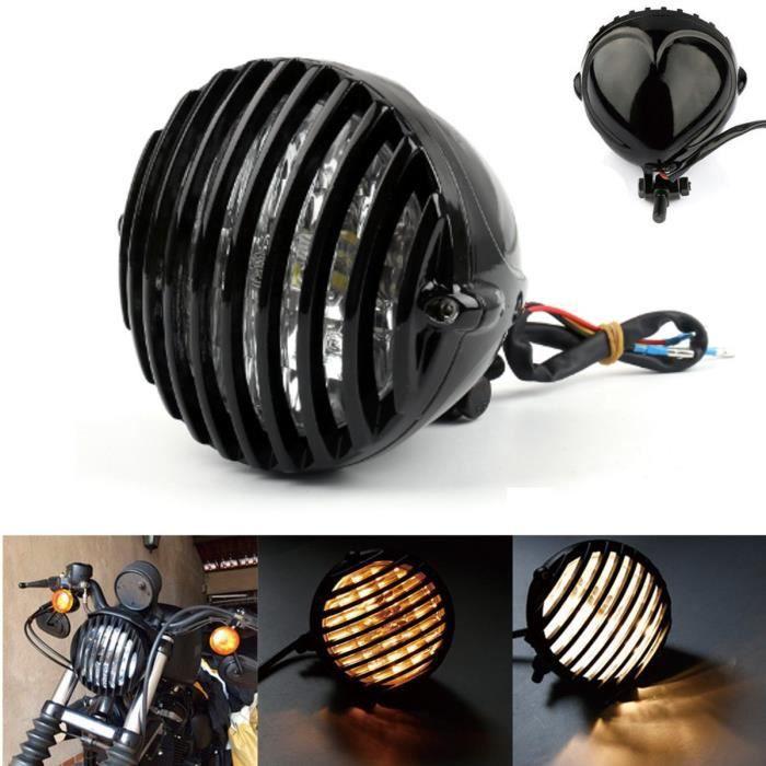 Grille en aluminium pour phare avant de moto Harley 14,6/cm Noir