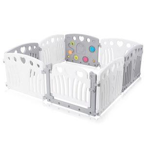 PARC BÉBÉ Baby Vivo Parc Bébé en Plastique 8 Éléments en Gri