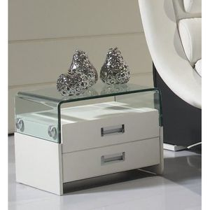 chevet table de chevet design en similicuir blanc s69