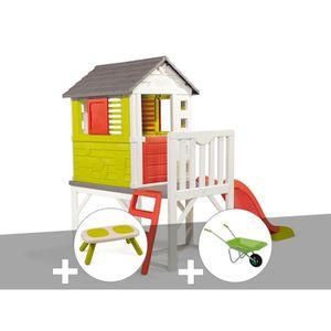MAISONNETTE EXTÉRIEURE Cabane enfant Pilotis - Smoby + Banc + Brouette 26