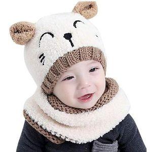 vêtement habit bébé écharpe gants hiver garçon 1-3 mois Bonnet int polaire