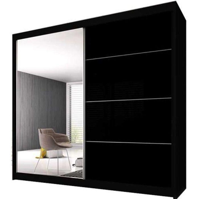 Armoire de Chambre avec 2 Portes coulissantes - Penderie (Tringle) avec étagères (LxHxP): 233x2180x61 Ben 31 (Noir/Noir+ Miroir)