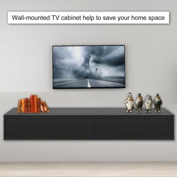 Meuble TV rectangle en MDF Meuble de rangement pour meuble TV simple style moderne 182 * 40 * 30cm-noir
