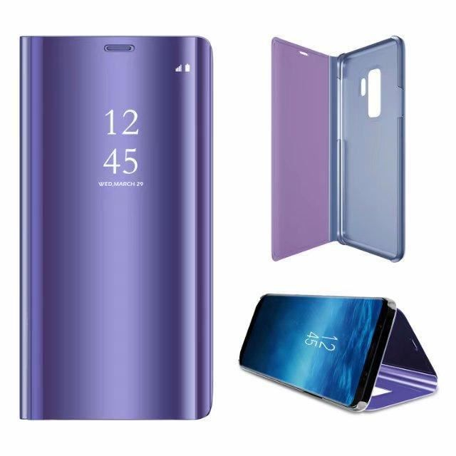 Etui pour Samsung A20E. HOUSSE CHAUSSETTE violet miroir de luxe vue claire sommeil intelligent réveil titulaire support de support