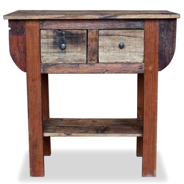 Bouts de canape Table console Bois de recuperation massif 80 x 35 x 80 cm