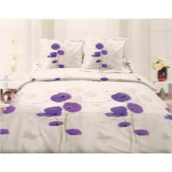 Parure de drap - Lit 2 Places - 4 pièces (140x190cm) - Coquelicot Violet