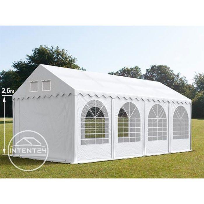 TOOLPORT barnum tente de réception 4x8 m, PVC env. 550g/m² H. 2,6 m, blanc