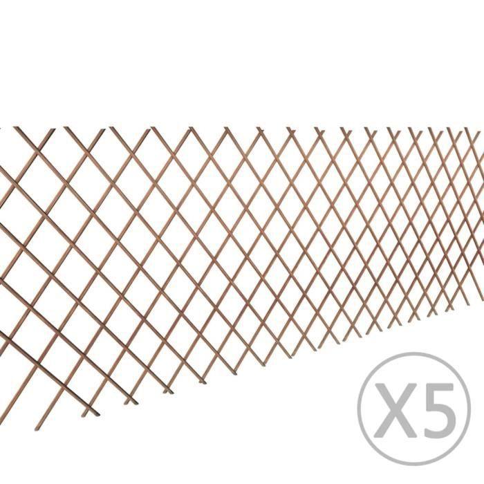 ♫1180 Clôture - Classique - Clôture de jardin Brise vue en treillis de saule 5 pcs - 180x90 cm FNCM®