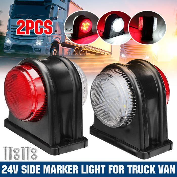 2Pcs 24V LED Mini Feux de Gabarit Lateraux rouge et blanc Camion Remorque Caravane