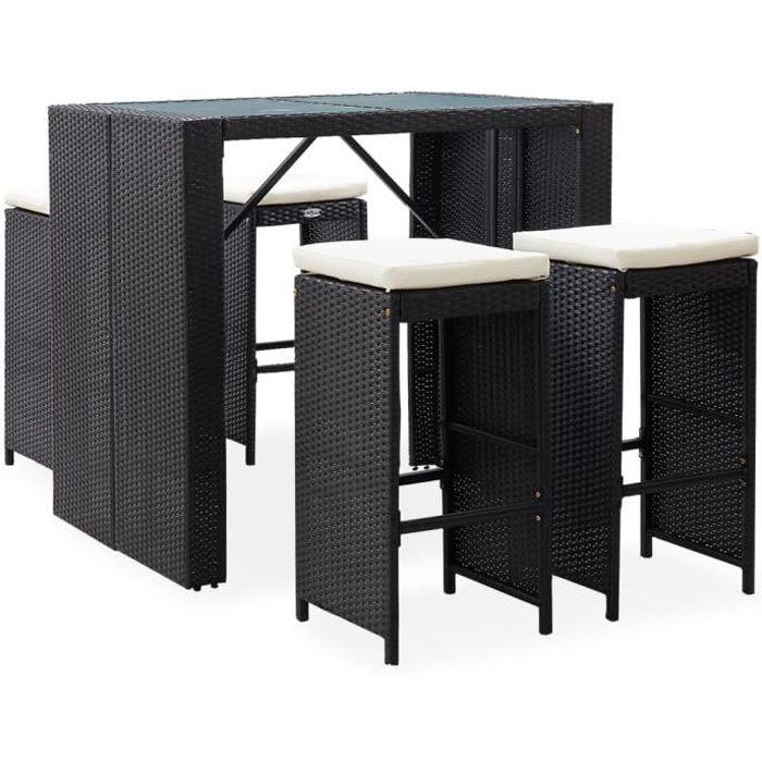 BRAVO*8254Moderne- Set de 1 Table + 4 Tabourets Table Mange-Debout Table Haute Cuisine Mobilier de bar d'extérieur - Ensemble Table