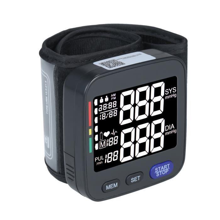 Tensiomètre automatique au poignet, avec grand brassard, 2 × 90 ensembles de compteur à impulsions d'enregistrement de données