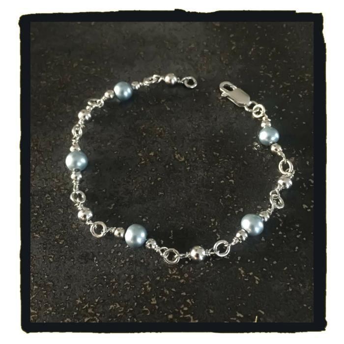 Bracelet Boules et Perles Nacrées Bleu Clair Argent Massif 925/000