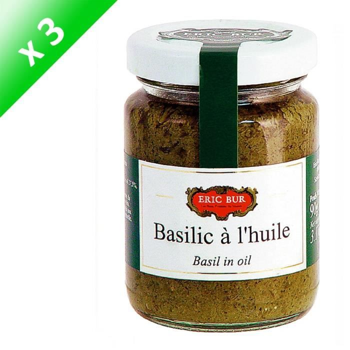 ERIC BUR Basilic À L'Huile d'Olive Vierge Extra - 90 g x3