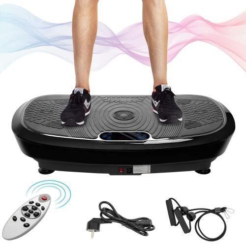 Plaque vibrante professionnelle Technologie de vibration à bascule 3D, Musique Bluetooth, 2 moteurs puissants,Bandes d'entraînement