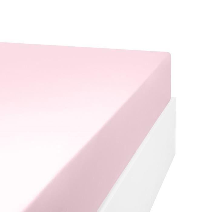 LINANDELLE - Drap housse en mélange 57 fils AISANCE - Rose - 70x190 cm